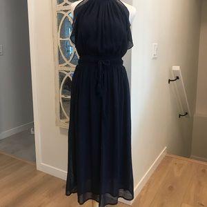 Michael Kors sheer navy with metallic long dress